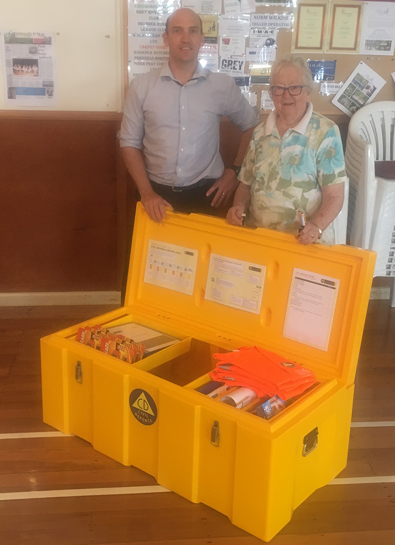 Grey District EMO, Matt Beavon, and Civil Defence Warden, Pat Cogger, with the first Civil Defence Centre Resouce Kit