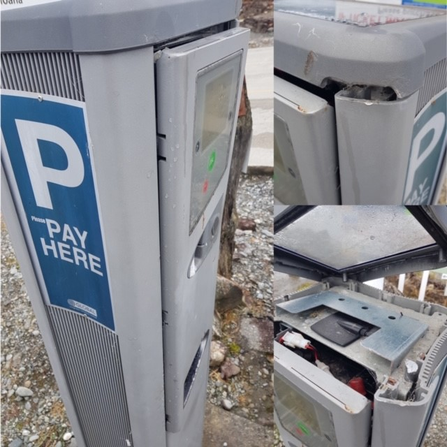 Damaged Pay and Display Machine.