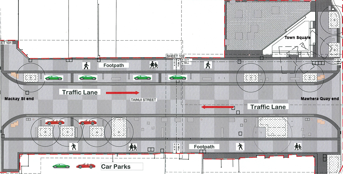 Town Square/Tainui Shared Street layout