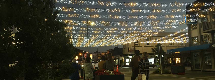 Fairy lights in Greymouth CBD