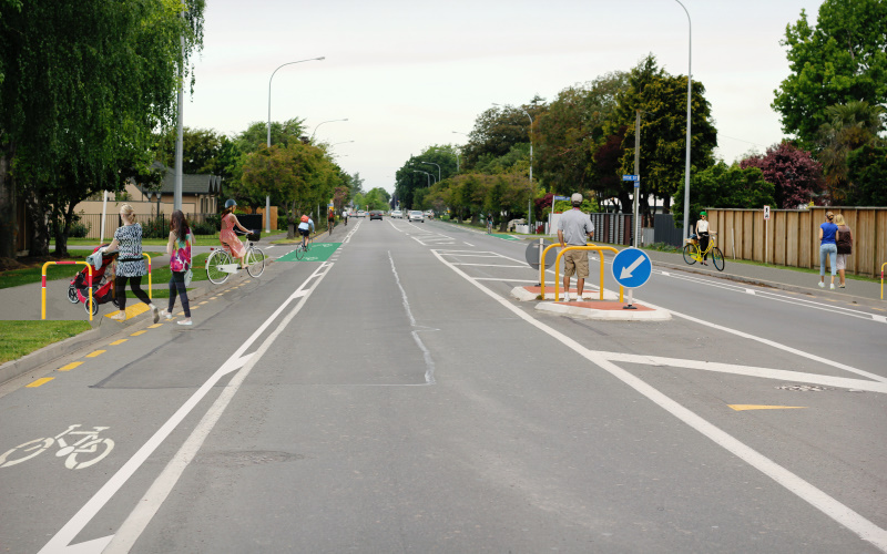 Image of street with proposed cycle lane